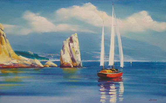 лермонтов морской вид с парусной лодкой